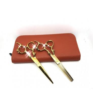 ست قیچی کات و پیتاژ طلایی کنده کاری شده رزونال