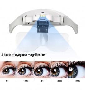 هد لایت عینکی همراه 5 عدسی بزرگنمایی professional magnifying glass